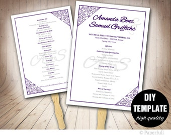 Purple Wedding Program FAN Template DIY Instant Download, Aubergine Wedding Fan Program,Purple Wedding Fan Program,Purple Program