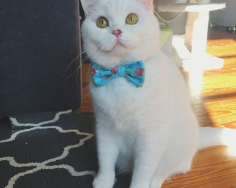 "Cat Bow Tie Collar - ""Ice Cream"" - Safety Buckle/Breakaway - Blue"