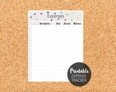 Printable Expense Tracker, Monthly Expenses, Expense Log