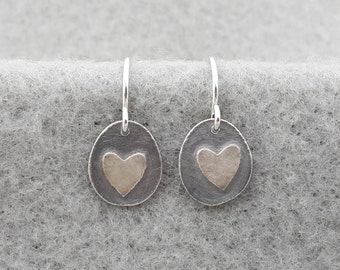 Tiny Organic Heart Earring, simple delicate sterling earring, unique handmade modern earring, sterling ear wire, silversmith, embossed heart