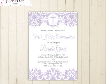 Lavender first communion invitation girl first communion invite holy communion invitation christening invitation lilac invitation 169
