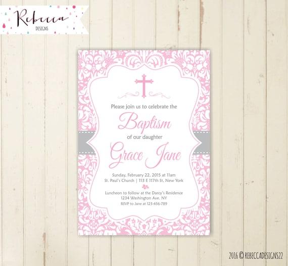 pink baptism invitation girl first communion christening invitation