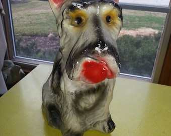 Vintage 1940s Large Chalkware Plaster Hand Painted Scottie Dog Figure CUTE!