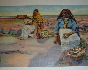 Native American  Acoma Pueblo  Vintage Curt Teich Unused Linen Postcard