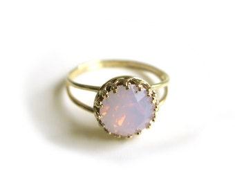Swarovski Ring, Rose Water Opal Swarovski Ring, Gold ring, Pink Crystal Ring, Bridal Ring, Bridesmaid Gift, Valentine Gift, Wedding Jewlery