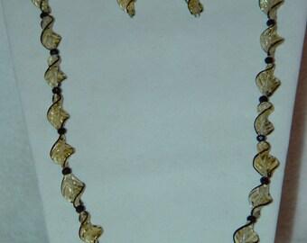 Yellow/Black Twist Necklace & Earrings Set
