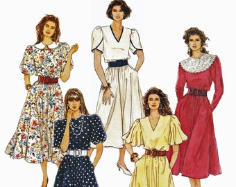 Flutter Sleeve Dress Pattern Dress with Sleeve and Neck Options 1990s Sewing Pattern McCalls 5201 Bust 31.5 to 34 UNCUT