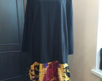 Black Cotton Long Sleeve Dress with Ikat Skirt