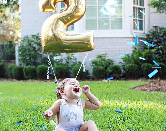 """Second Birthday Balloon 40"""" Giant Number, 2 Balloon, Second  Birthday Decoration Gold or Silver Number Balloon"""