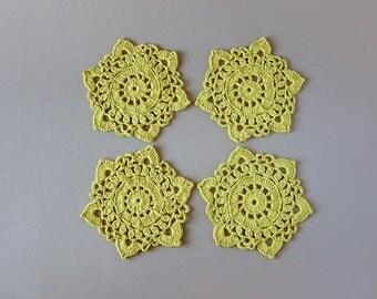 4 Green Crochet Coasters