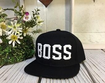 "Hip Hop ""BOSS"" 3D Snapbacks Black/White Thread"