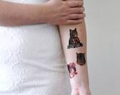 Cat lady temporary tattoo set / cat temporary tattoo / cat lady tattoo / cat lady gift idea / cat gift idea / cat accessoire / cat jewelry