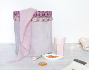 M Fabric Basket, Toy Storage, Storage Basket, Storage Bin, Nursery Storage, Project Bucket // Liberty Print // Purple Pink Grey