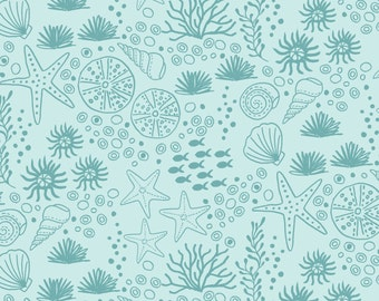 Aqua Sea Shell Fabric, Lewis & Irene Tales of the Sea, A139.2 Seashells, Ocean Fabric, Beach Fabric, Nautical Cotton Quilt Fabric
