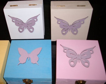Butterfly Design Hand Made Wooden Box 12x12cm x 6cm. Hand painted in White. Cream or Blue. Wood laser cut Butterfly on lids, In Plum. Hinged