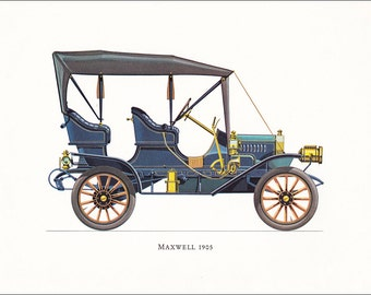 Maxwell 1905 American veteran car motoring blue vintage print illustration home office décor boy's nursery 9.5 x 7 inches
