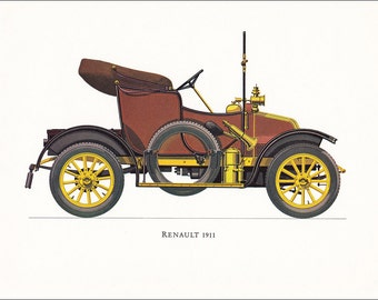 veteran car motoring vintage French Renault 1911 print illustration home office décor boy's nursery 9.5 x 7 inches