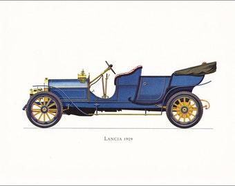 Lancia 1909 Italian Veteran car motoring blue vintage print illustration home office décor boy's nursery 9.5 x 7 inches
