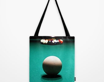 Green Tote Bag, Green Bag, Billiards Party Gift, Unique Tote Bags, Eight Ball, Night Photography, Teal