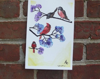 Robins and Cardinals in Crepe Myrtle Tree, ORIGINAL 6 × 9 inch watercolor and ink painting