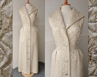 Lovely 60s Vintage Brocade Maxi Dress // Off White And Gold // Carolette // Size 42