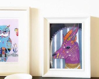 Antelope, Art Print, Wall Decor, Kids Art, fun vintage decor, Wall Art, Colorful Art, Quirky Art, Art Gift, animal portrait, 3 sizes