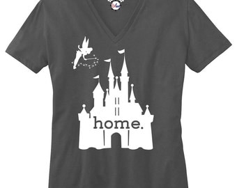 The Original Disney Is My Home Ladies V-Neck T-Shirt, Deep Heather Gray