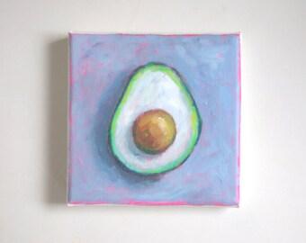 original avocado painting, food painting, tiny painting, mini painting, canvas art