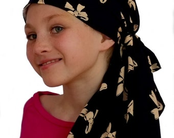 Ava Joy Children's Pre-Tied Head Scarf, Girl's Cancer Headwear, Chemo Head Cover, Alopecia Hat, Head Wrap, Cancer Gift for Hair Loss - Bows