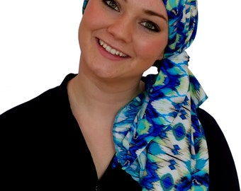Carlee Pre-Tied Head Scarf, Women's Cancer Headwear, Chemo Scarf, Alopecia Hat, Head Wrap, Head Cover for Hair Loss - Blurred Blue Aztec