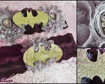 Garters/Wedding Garters/Geek Garters/Batman Garters/Batman Lingerie/Wedding Lingerie/Geek Lingerie/Garter Toss/Tossing Garters/Bridal Garter