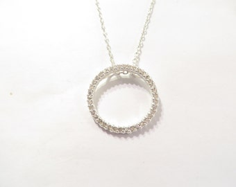 Sterling Silver CZ Eternity Necklace