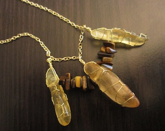 Raw Amber Points with Tiger's Eye Accent Necklace