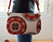 Mandala bag,mandala clutch,red clutch,red bag,red purse,flowers bag,crossbody bag,red handbag,printed bag,spring bag,big print,leather bag