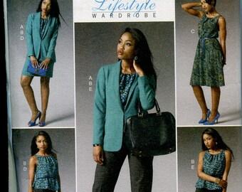 Womens Lifestyle Wardrobe Sewing Pattern OOP Butterick B5964 Shawl Blazer Top Dress Skirt Pants Size 18W to 24W Bust 40 to 46 Uncut