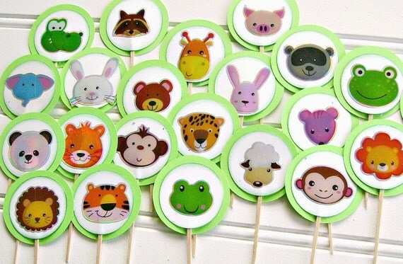 ... animal cupcake toppers, zoo birthday party, zoo baby shower, Wild One