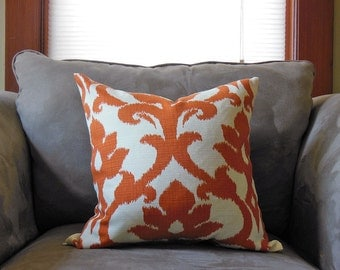 "18"" x 18"" Pillow Case for Outdoor and Indoor  - Tangerine Ikat"