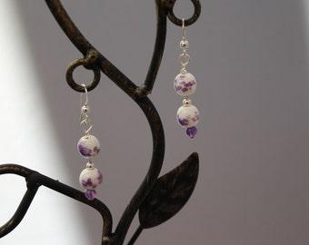 Purple and white glass bead earrings