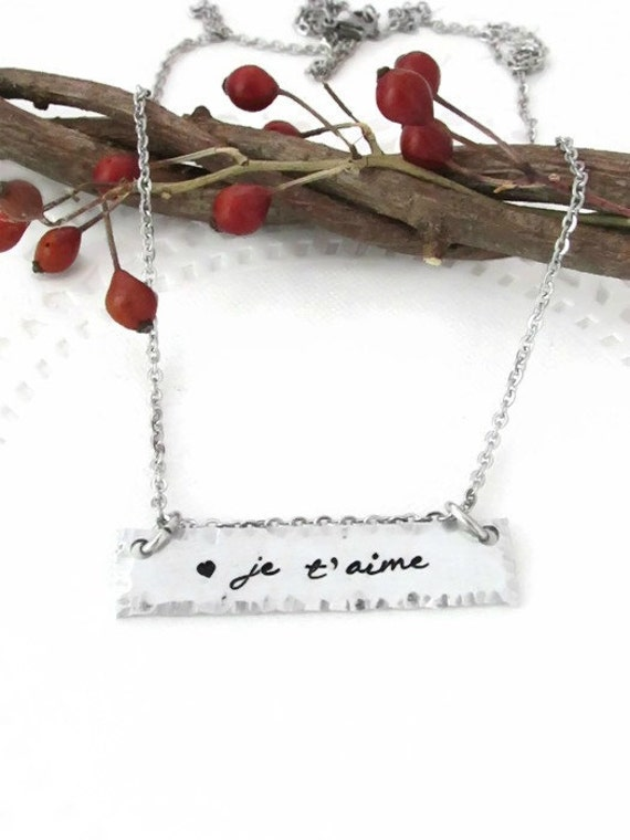 je t aime sted necklace i you in
