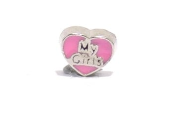 My girls charm, pink charm, heart charm, living memory necklace charm