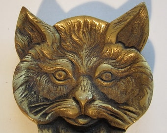 Cute French bronze cat pin tray, adorable cat's head! ca 1920, France
