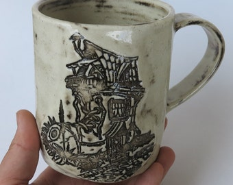 Boot House Mug - Handmade Stamped Ceramic Mug - Fairytale Mug #2