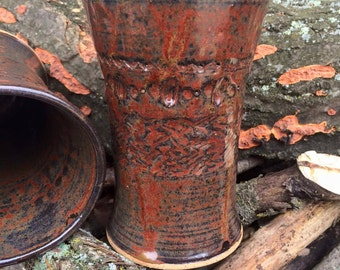 Ceramic Tumbler - Rustic Red - Wheelthrown - Handstamped Pottery