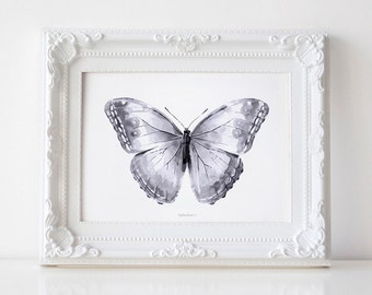 Gray Butterfly art print, Black and white Butterfly print, Butterfly nursery wall art Gray nursery Instant printables Butterfly illustration