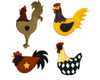 Hen House Jesse James Fall Chicken Buttons Orange Brown Mustard Black White Checkered Country Primitive Autumn Rooster Farm Sewing Supplies