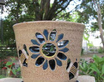 Flower and Bee Orchid Pot