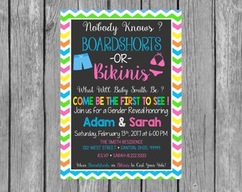Boardshorts or Bikinis Gender Reveal Party Invitation - Gender Reveal Invitation