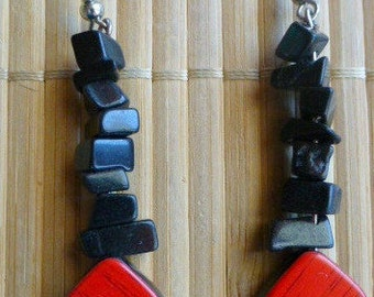 Handmade earrings with black onyx and a red and black pendant