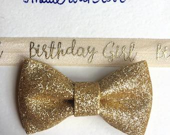 Birthday Headband, Gold Baby Headband, Gold Bow Headband, Gold Headband, birthday girl Headband, Children's Accessory