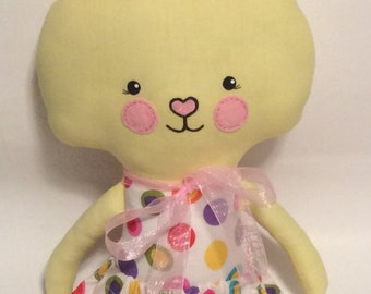 "SALE  Handmade Girl Cloth Doll 23"" Tiffany Bunny Spring Rabbit Easter Holiday Plush Softie Rag Doll Yellow"